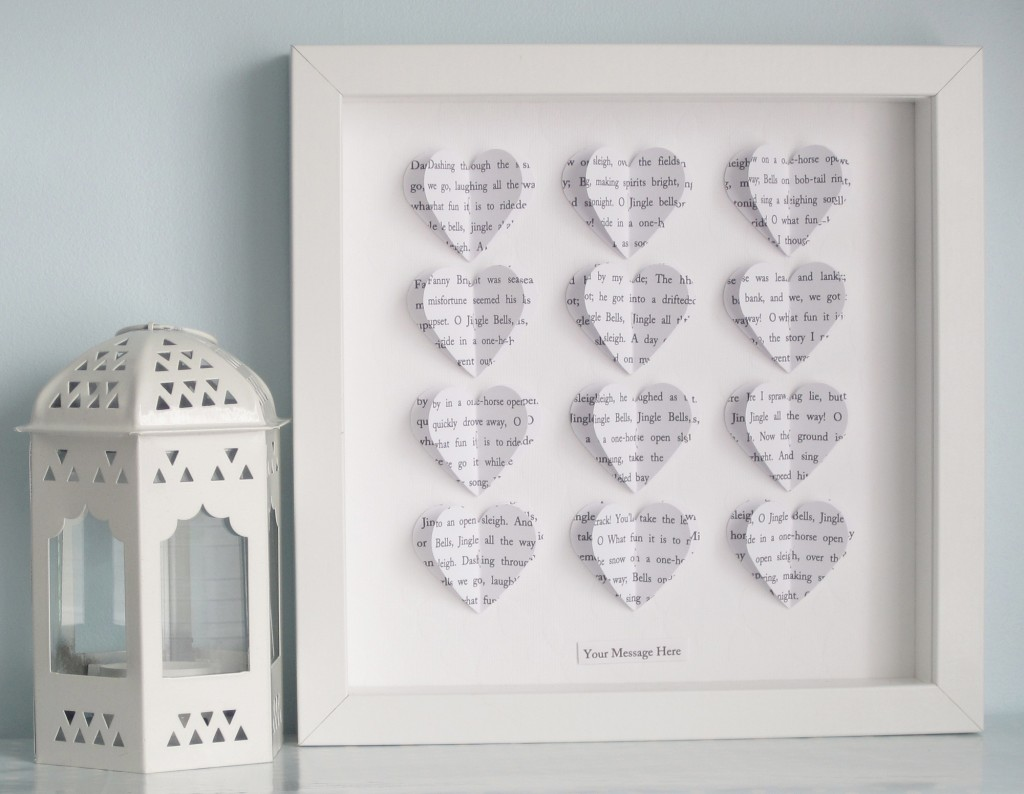 Personalised Text Heart Frame - White