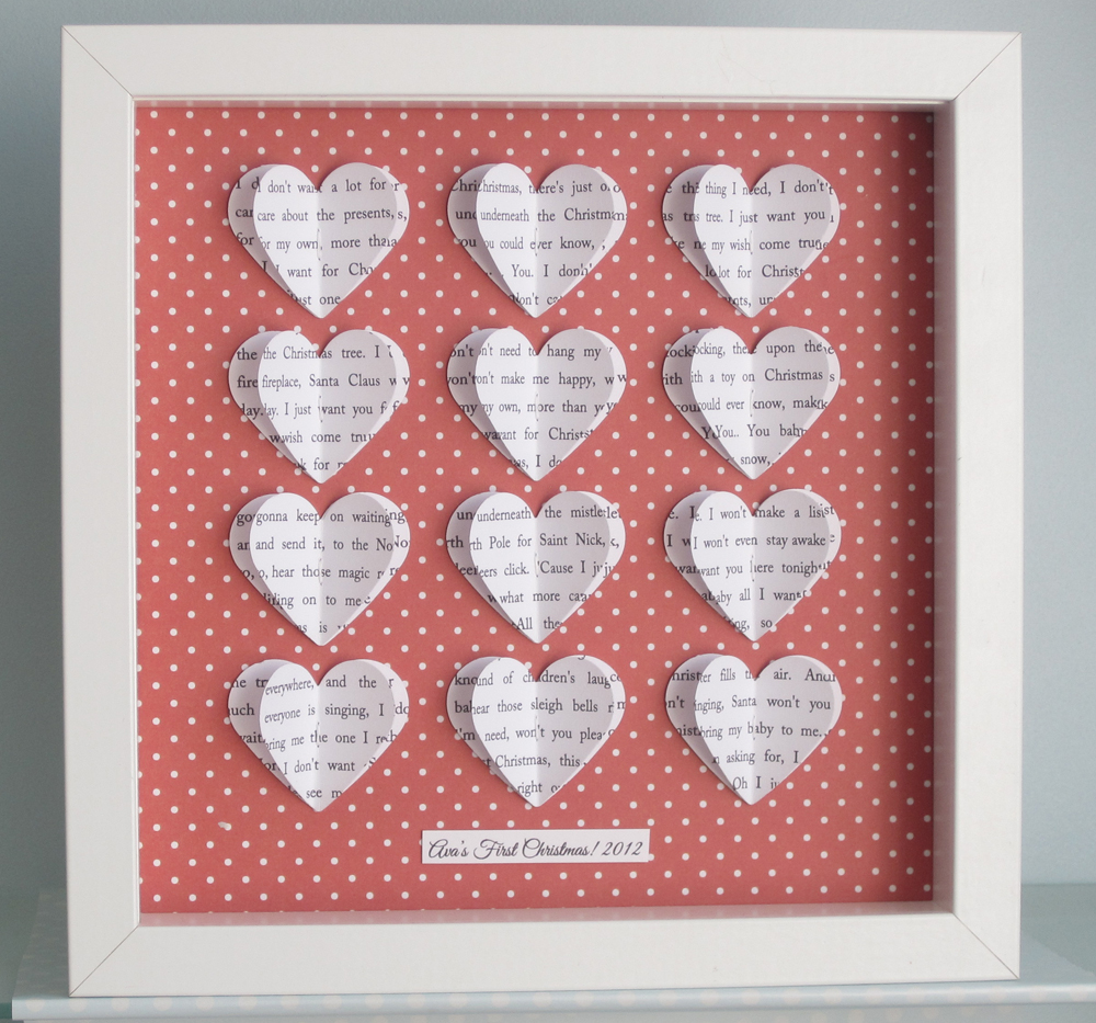 Personalised Text Heart Frame - Red Dot